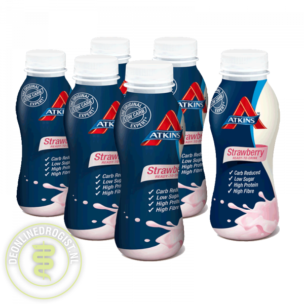 Atkins Shake Ready To Drink Strawberry Grootverpakking (6x330)