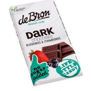 De Bron Suikervrije Tablet Dark Chocolate Blueberries & Strawberries