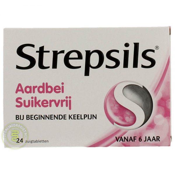 Strepsils Aardbei Suikervrij Zuigtabletten