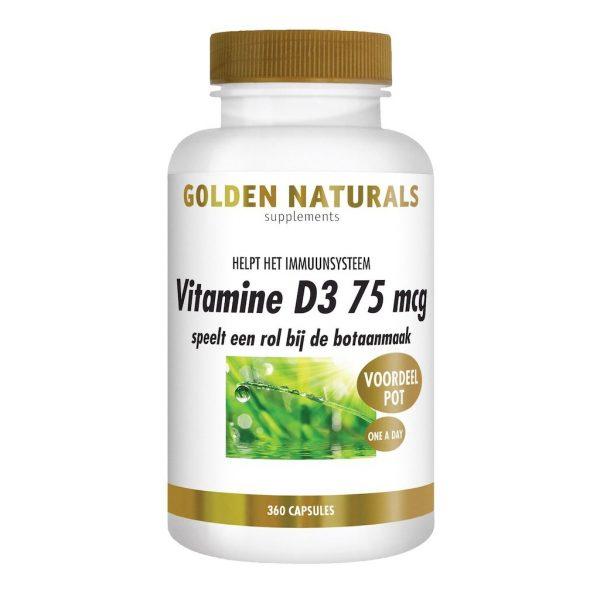Golden Naturals Vitamine D3 75mcg Capsules