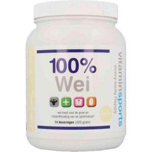 100% Wei Formule (vier smaken) vanille, 900 gram